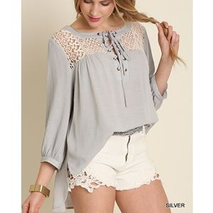 """Bare Anthology Tops - """"Notorious"""" Crochet Collar Lace Up Top"""