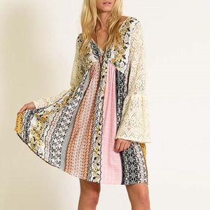 1DAYSALE Printed Lace Bell Sleeve Dress