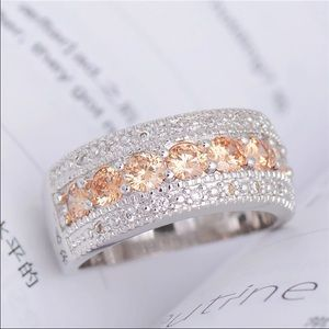 Jewelry - 💛Silver plated gorgeous champagne CZ ring