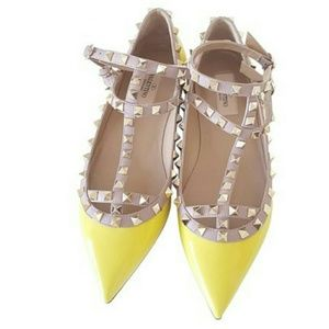 Valentino Shoes - Valentino Rockstud Patent Cage Flats