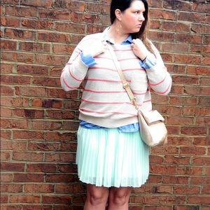 POL Sweaters - Tan Knit Sweater with Orange Stripes