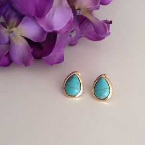 Turquoise & Gold Studs