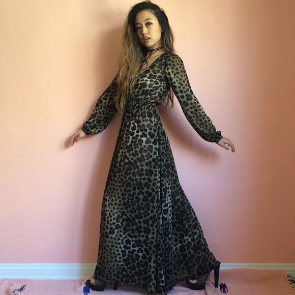 H&M Dresses | Hm Semi Sheer Leopard Print Maxi Dress | Poshmark