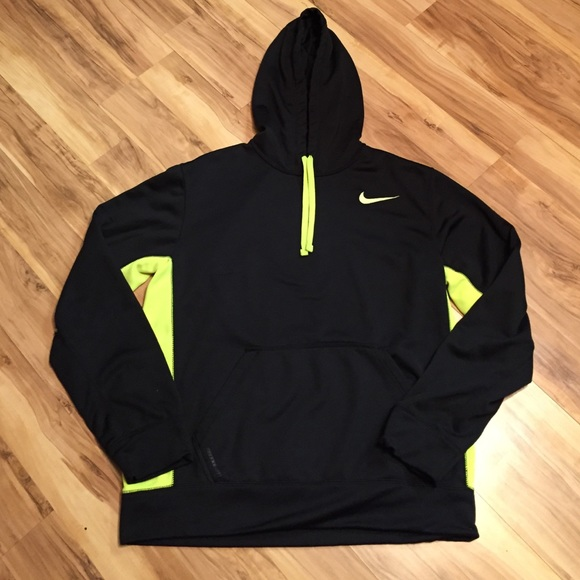 outlet store 0b23f 54842 Nike Therma-Fit Black Neon Hoodie Pullover Jacket