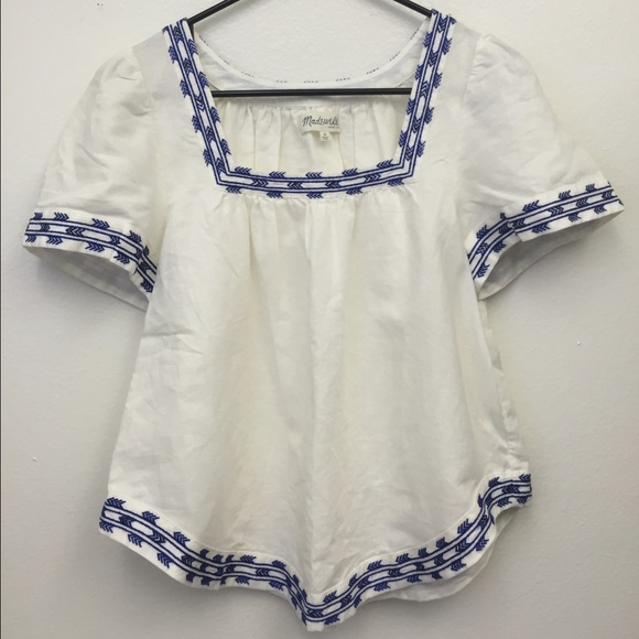 7da20a4012c783 Madewell Tops - NEW madewell blue   white embroidered peasant top