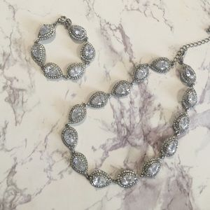 Double halo teardrop necklace and bracelet set