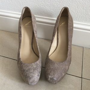Brian Atwood Shoes - NEW! Brian Atwood Nude Sparkly Platform Heels 10