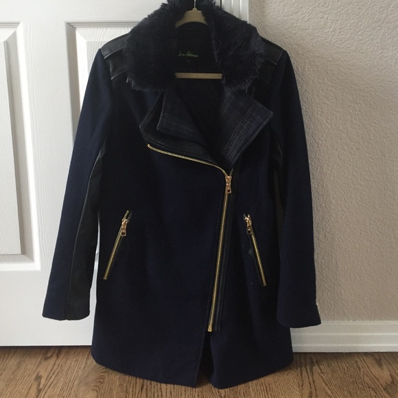 7b2be2f6c Sam Edelman Jackets & Coats | Blue Coat With Blue Faux Fur Collar Sm ...