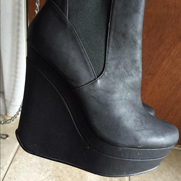 michael antonio black wedge booties 9 from jody s closet