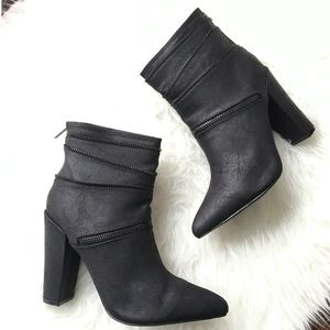 Michael Antonio Crackled PU Leather Booties NWB