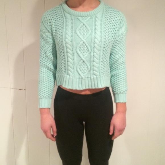 BDG mint knit cropped sweater