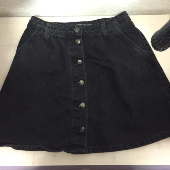 ee7547324 Zara Skirts | Black Denim Button Mini Skirt | Poshmark