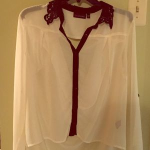 Tops - White blouse with black trim and lace neckline.