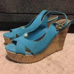 Blue Wedges with Cork Wedge