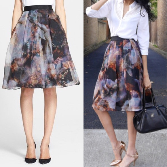 ac4ac39ce7b8 Ted Baker Genna Skirt silk black blooms. M 56fdcb02fbf6f91cbc0119ce
