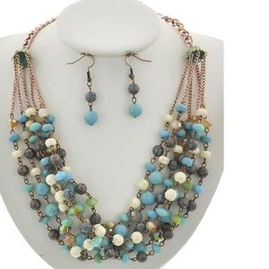 Gorgeous multi layered glass & stone bead necklace