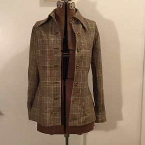 70's Vintage plaid blazer with suede elbow patches