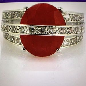 NEW! Silver plated red ring size 7
