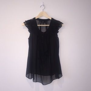 Aqua Tops - Black sheer silk blouse