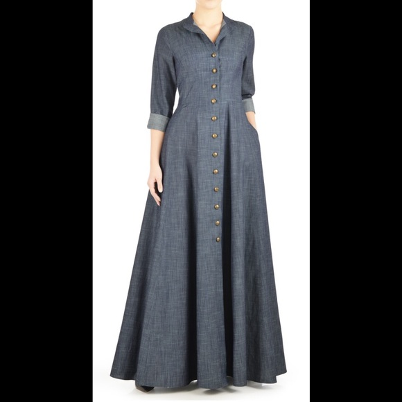 af2b05624c1 Eshakti Dresses   Skirts - New Chambray Maxi Shirt Dress 16W