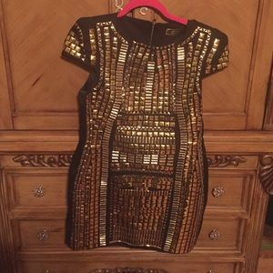 Metallic Gold Studded Dress