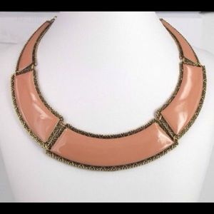 Elegant gold tone and tan collar/choker necklace
