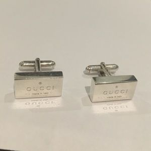Gucci Other - Auth Gucci Sterling Silver Trademark Cufflinks 925