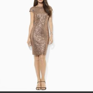 Lauren by Ralph Lauren Gold Sequin Dress size 2