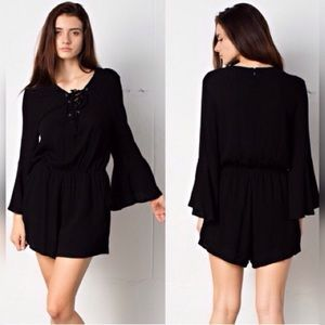 April Spirit Pants - 5⭐️ BUYER RATED⭐️LACE UP BELL SLEEVE BLACK ROMPER