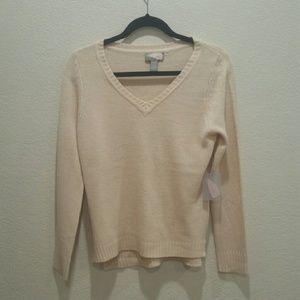 Brand New Cozy Peach Vneck Sweater