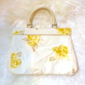 Banana Republic Handbags - Banana Republic Yellow Floral Top Handle Purse
