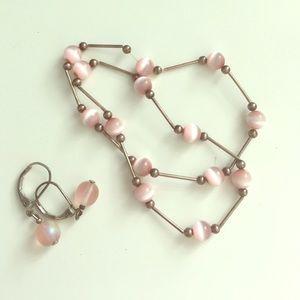 2 pink bead bracelets, pair of matching earrings