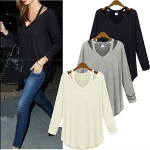 FINEJO Tops - Comfy cutout shirt