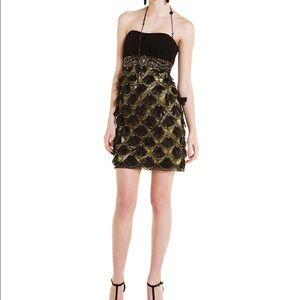 Black and gold beaded Sue Wong dress