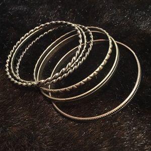 Set of Gold Bangle Bracelets