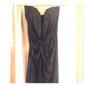 Lipsy London Black Sparkle Strapless Mini Dress