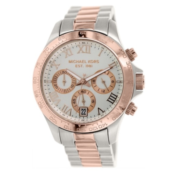 2d2a5616fdcf3 Michael kors two tone silver and rose gold watch. M 56feb9e913302aba82082ba9