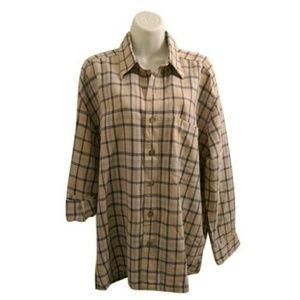 quick reflex Tops - HP - Vintage oversized plaid button down shirt