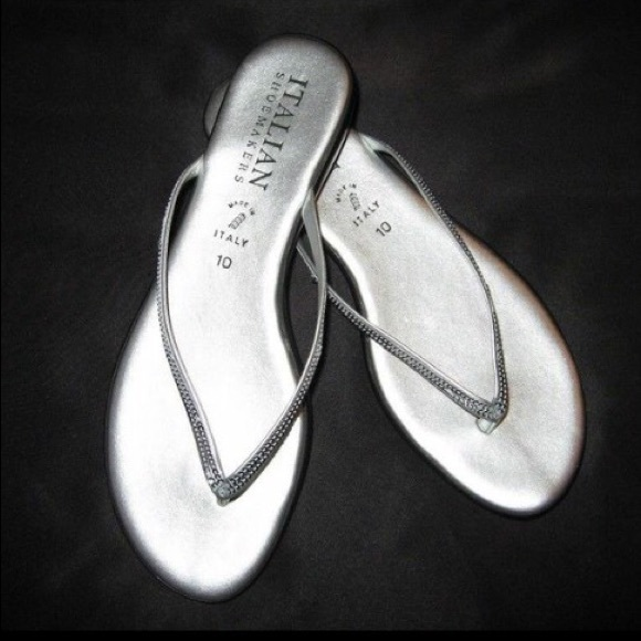 57 Off Italian Shoemakers Shoes - Silver Sequin Leather -1843