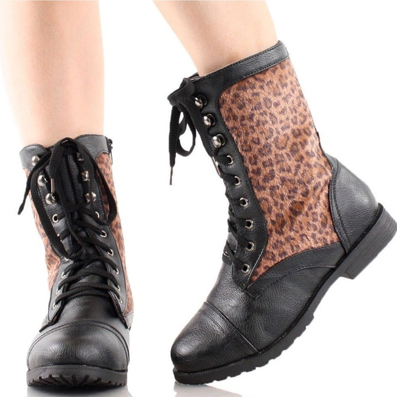 73% off Shoes - Leopard Print Combat Boots Size 11 from Alaina's ...