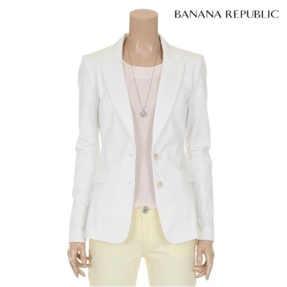 Banana Republic Jackets & Blazers - Banana Republic White Sateen Blazer Sz 8