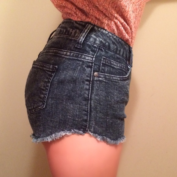 70% off Pants - Dark Wash Distressed High Waisted Jean Shorts from ...