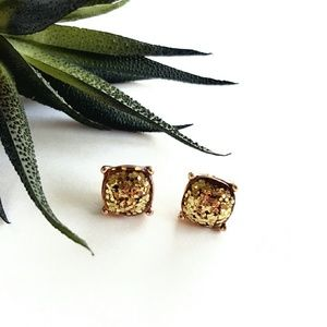 Jewelry - GUM DROP | Gold Glitter Earrings