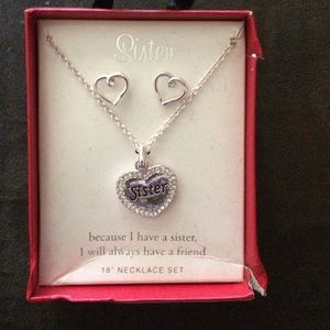 Jewelry - Sister necklace and heart earrings bundle