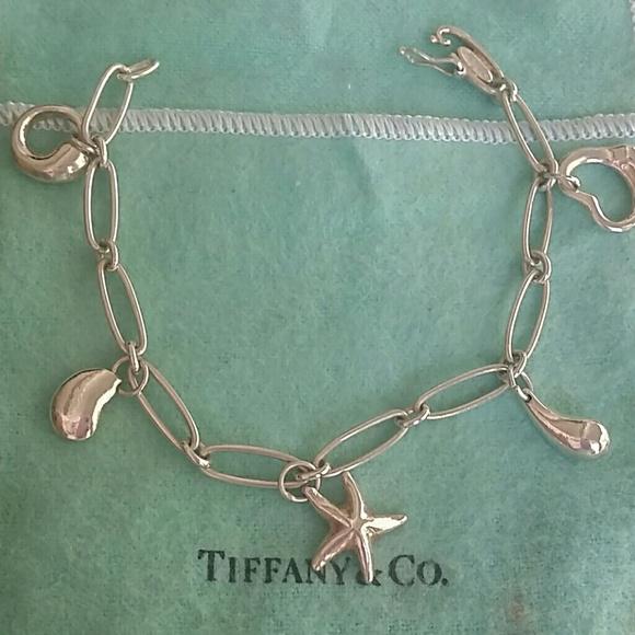 Auth Tiffany Elsa Peretti 5 Charms Bracelet 925