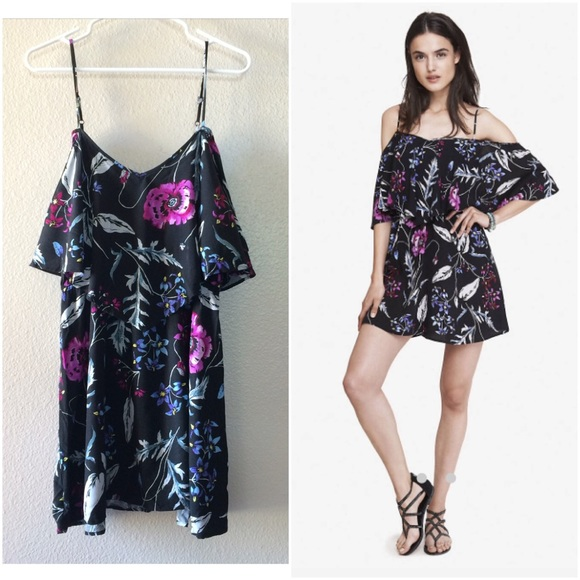 7ca57d3a0b33 Express Dresses   Skirts - Express Black Floral Print Off Shoulder Dress