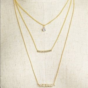  Triple Pendant Layering Necklace Gold