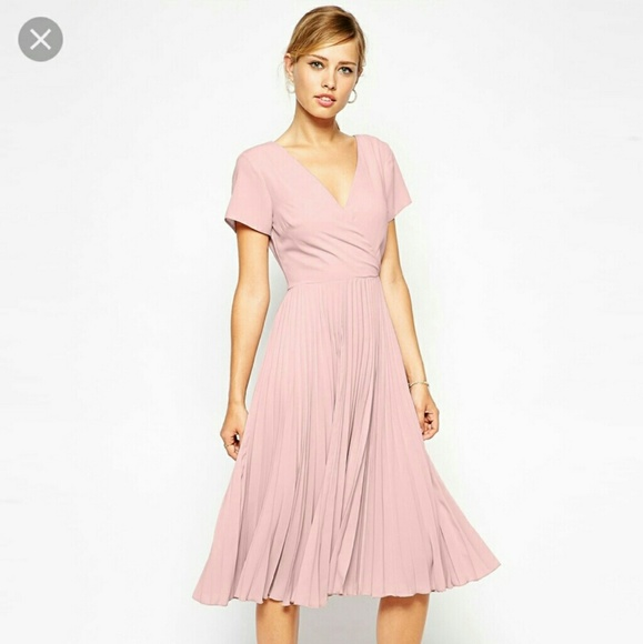 d3ed922e9cb5 ASOS Dresses | Nwt Midi Skater Dress With Pleated Skirt Pink | Poshmark