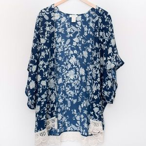Tops - 💥SALE💥 Printed Kimono With Lace