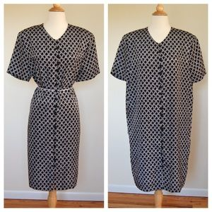 Vintage 1980's Print Shift Shirt Dress
